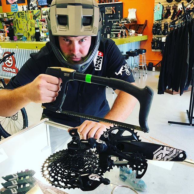 Blake's all set for takeoff! We got an Eagle...well, 12 speed GX Eagle Drivetrain minus the chain. It's keeping those Benjamins in your pocket, only $495.00. WOW! @srammtb #gxeagle #affordable12spd #bendcyclery