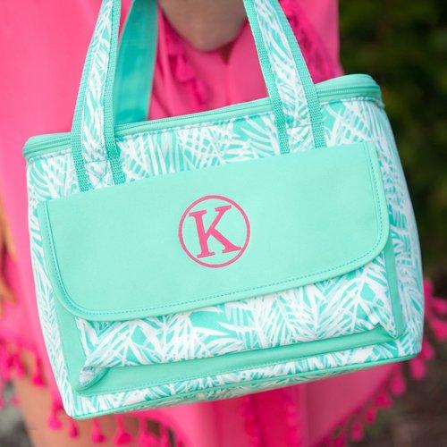 poolside palm monogrammed beach cooler bag patterned cooler tote