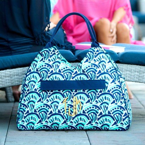 makin waves monogrammed beach bag patterned beach tote pool