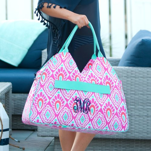 beachy keen monogrammed beach bag patterned beach tote pool
