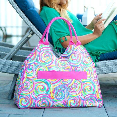 summer sorbet monogrammed beach bag patterned beach tote pool