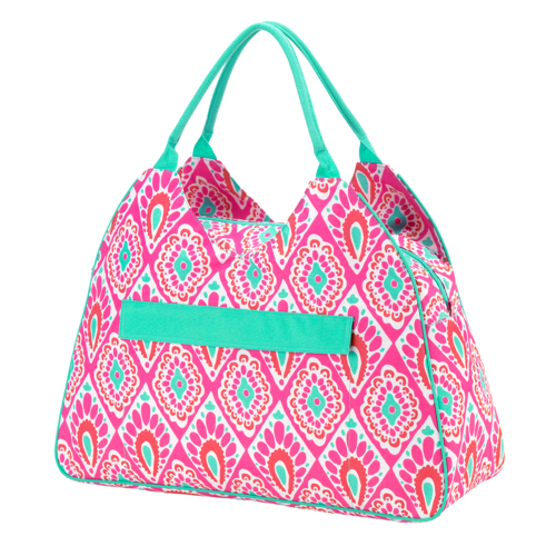 flamingle monogrammed beach bag patterned beach tote sew