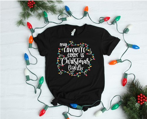 My Favorite Color Is Christmas Lights Shirt Alcohol Graphic Tee