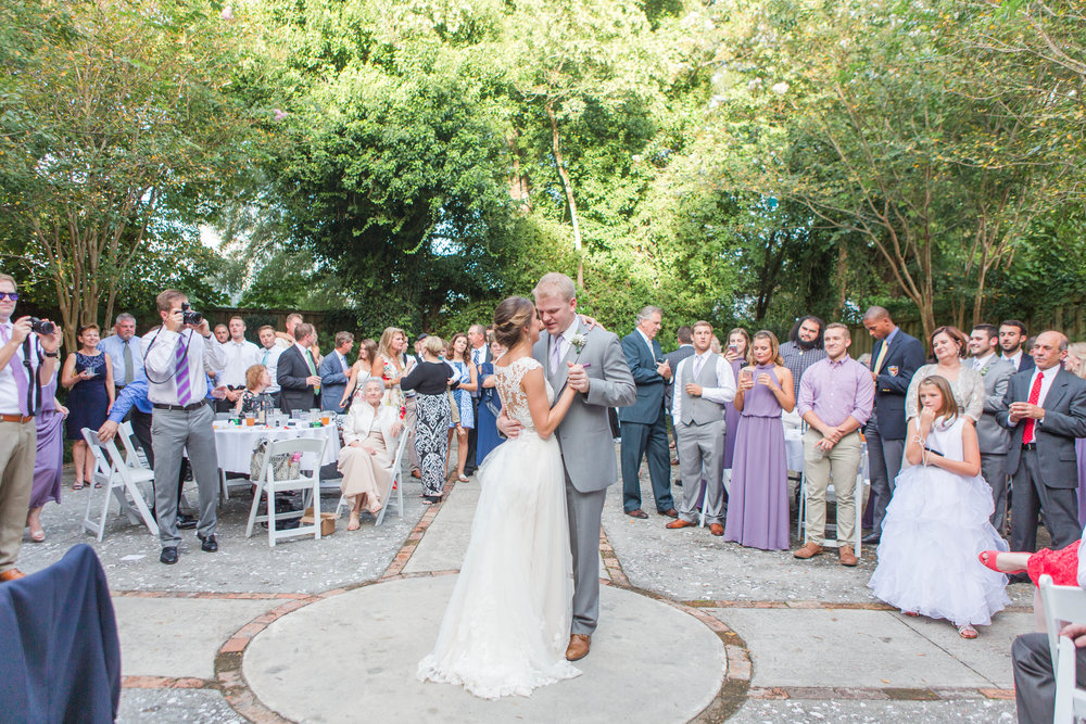 They chose to do their first dance in the courtyard at the end of cocktail hour! It was the PERFECT idea!!
