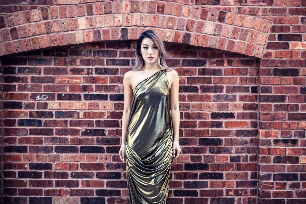 Gold Dress designed by Minika Ko. Photo by Lucas Huang