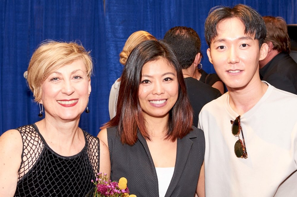 From Left to Right: SVA professor Olga Mezhibovskaya, Fashion Designer mentor Minika Ko, SVA Student Sungpyo Hong