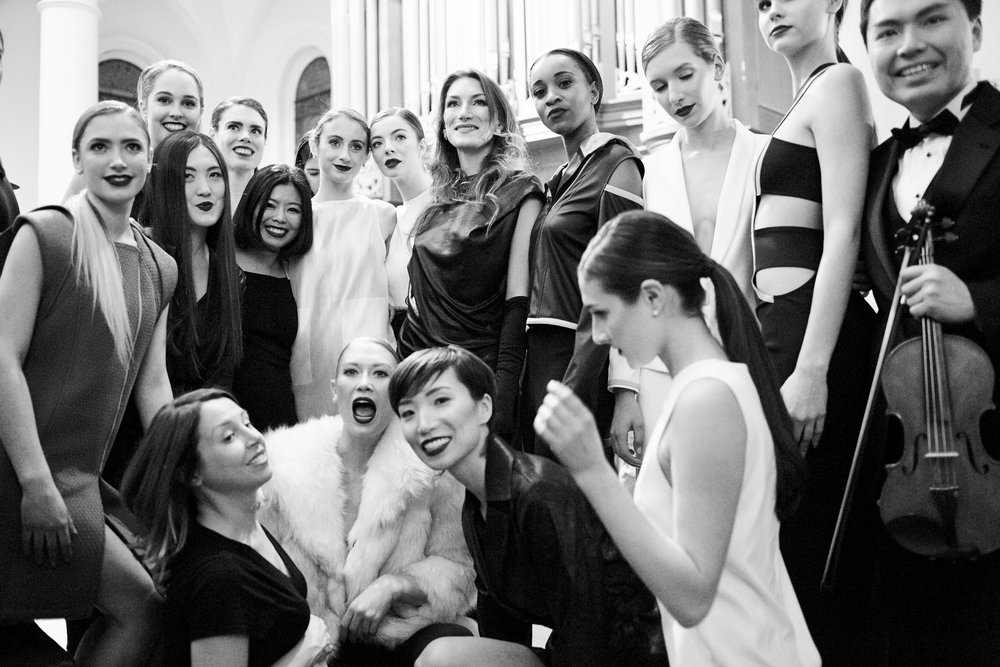 Anna Cley, French opera singer, mezzo-soprano. Andy Lin, Violist. Andrea Zola of MBD Beauty. Minika Ko, fashion designer. Photographed by Alex Beauchesne