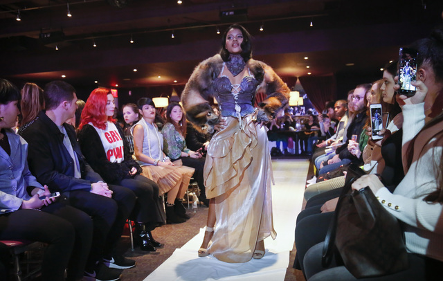 Melissa Davis, 22, models #MeToo fashion during Fashion Week.  Photo:AP