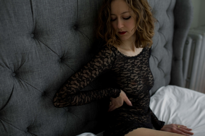 Boston Boudoir Lacy Dress Sitting Up Photo