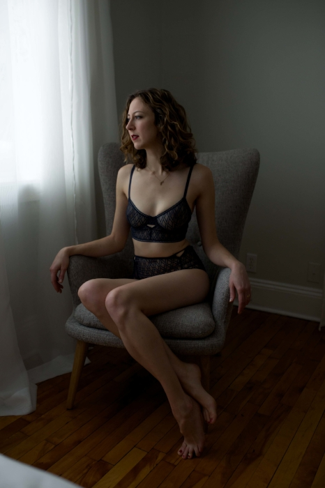 Boston Boudoir Looking at Window Photo