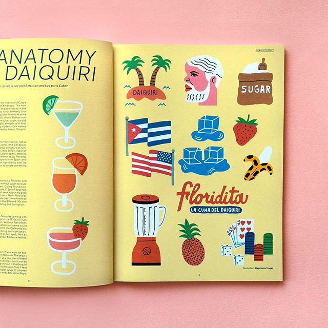 A spread I helped design for @kanpai_magazine 💕 For an article about the anatomy of daiquiri 🍹🍸✨