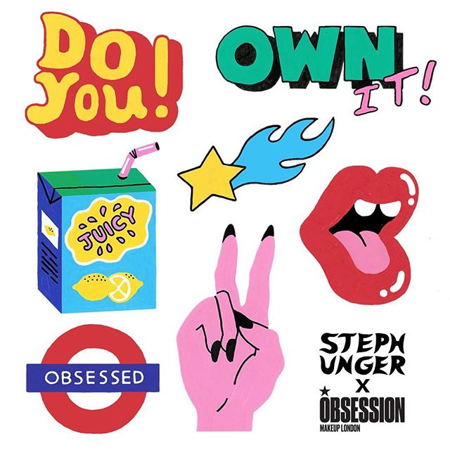 This Saturday 5th May I'm going to be teaming up with @obsession at @bootsuk Sedley place! (385-389 Oxford st, London) 😝🔥 I will be waiting and ready to help customise your obsession make up palette with the stickers I designed above!✌🏽💫👄Check out @obsession for more details 🌊✨