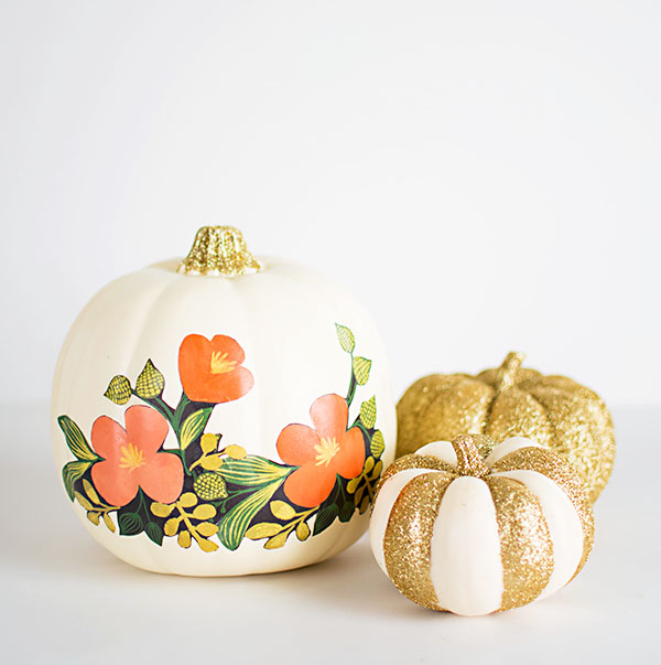 DIY FLORAL AND GLITTER PUMPKINS
