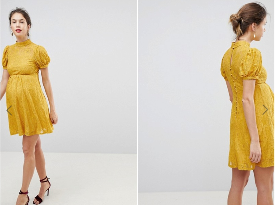 Retro Cute - Colour is spot on!Love this cute little dress with the puff sleevesWaist definitionHigh neck, on trendGreat if you like your legs!