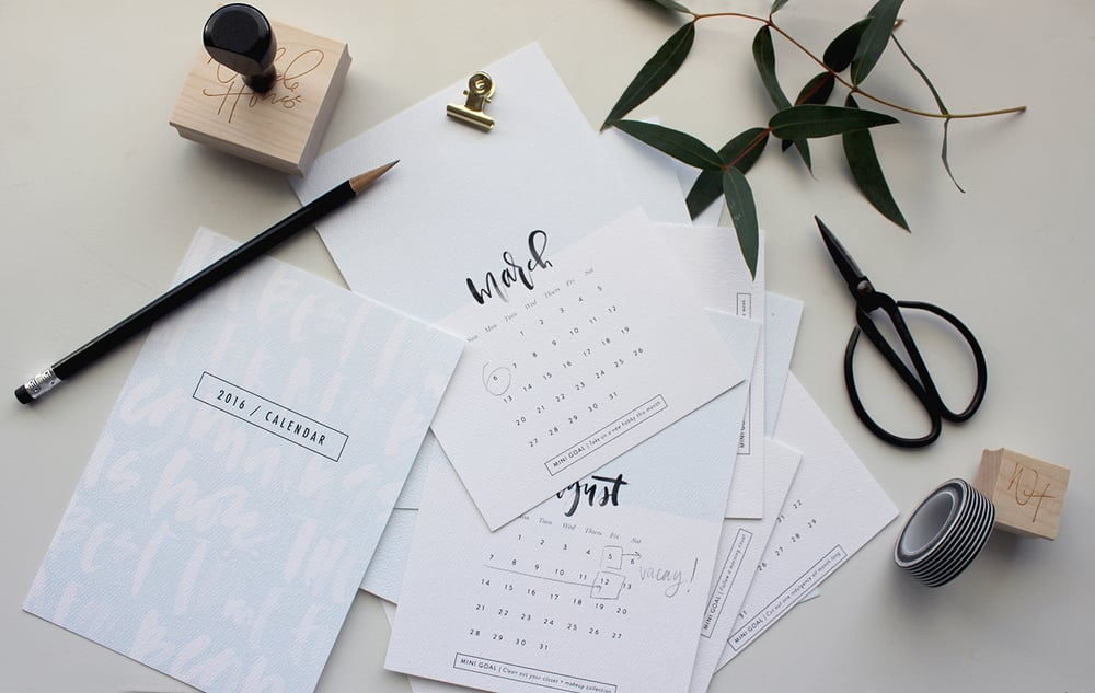 Mini calendar from the January Box | Wilde House Paper
