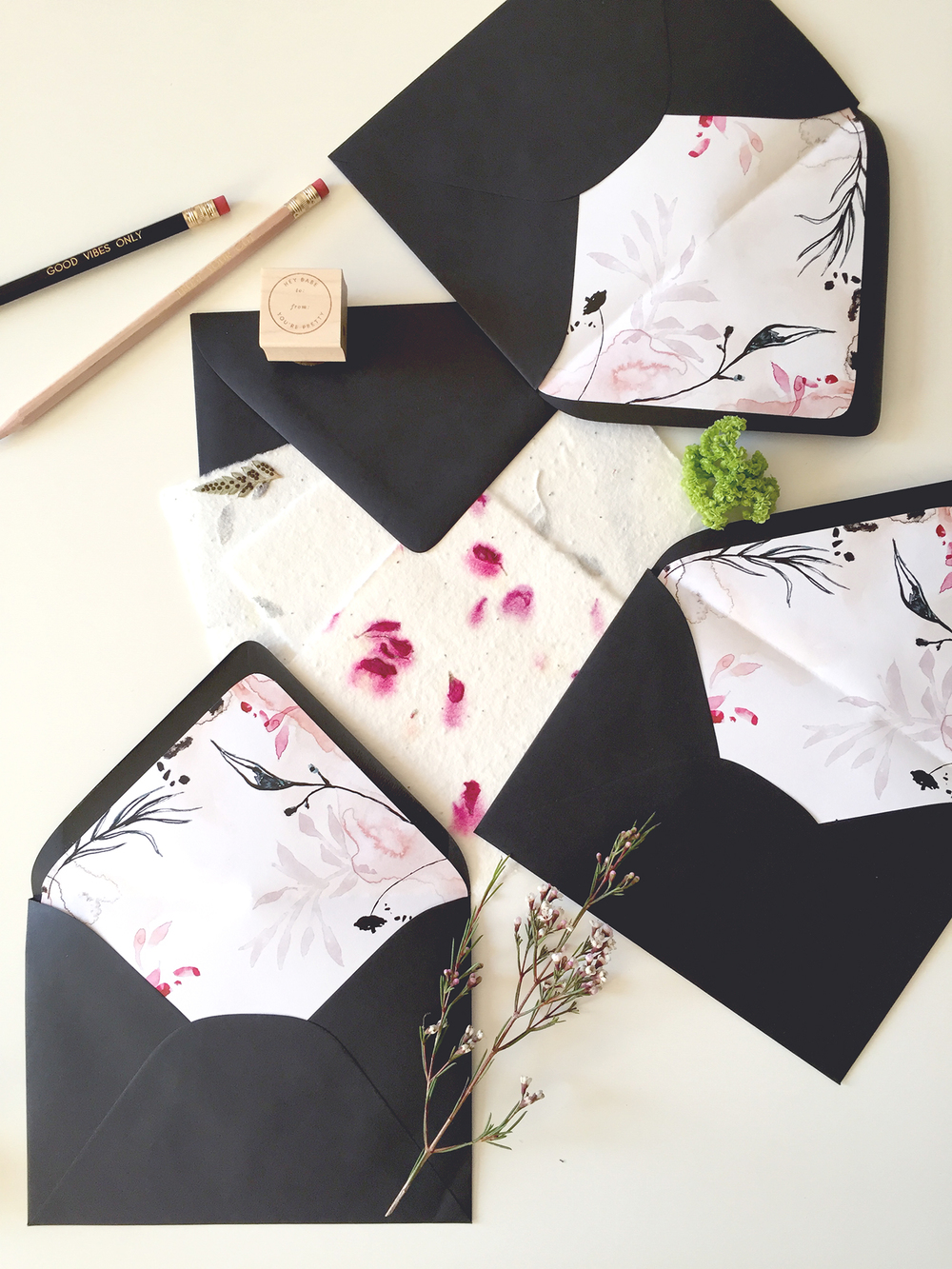 Hand painted floral liners | Wilde House Paper