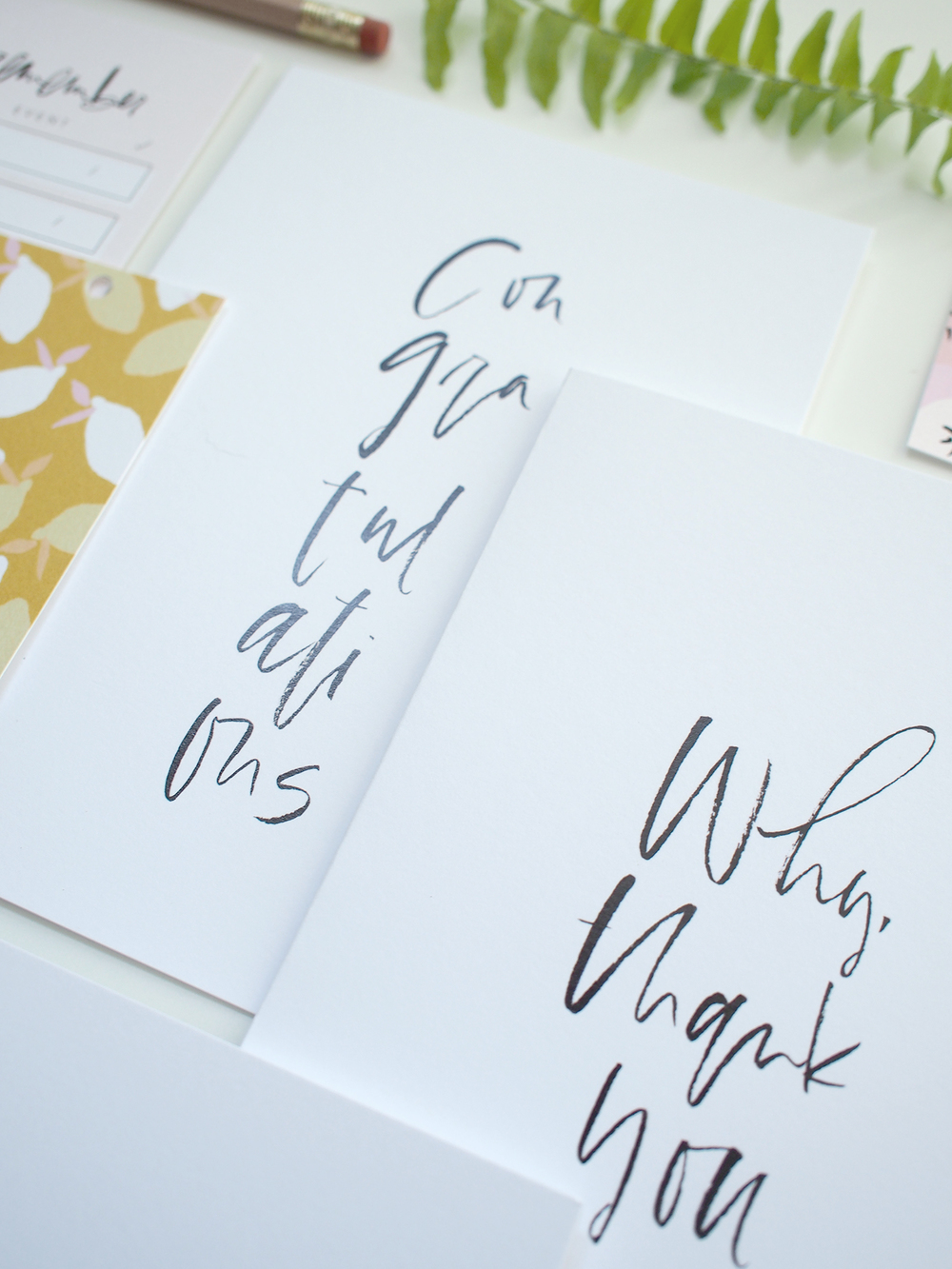 hand lettered black and white cards | Wilde House Paper