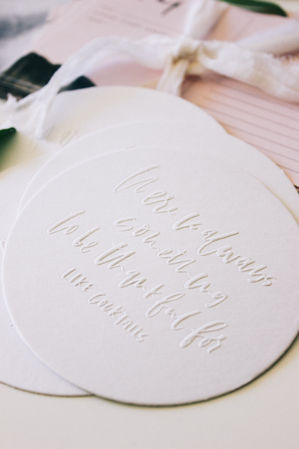 Custom hand lettered embossed coasters | Wilde House Paper