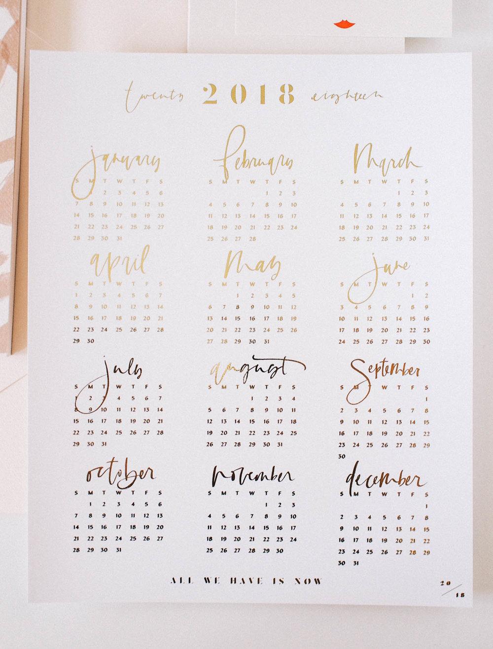 Wilde House Subscription Package // 8x10 gold foil calendar