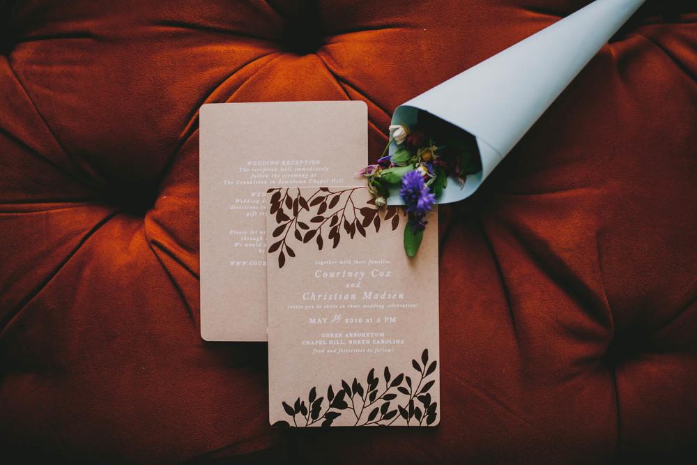 chapel hill wedding invitation suite