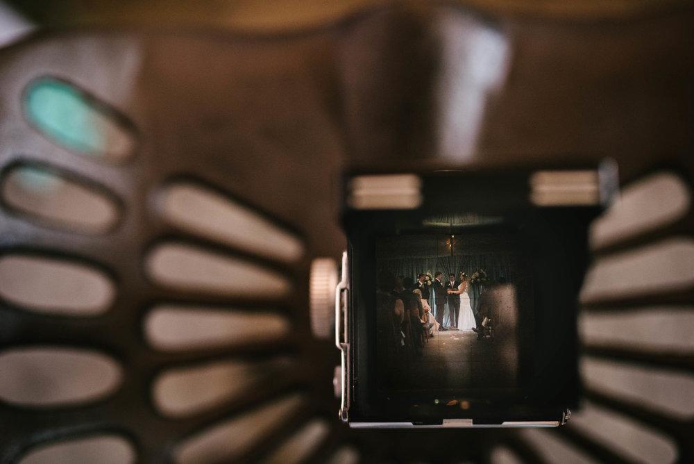 Wedding Ceremony through Rolleiflex in Durham, NC