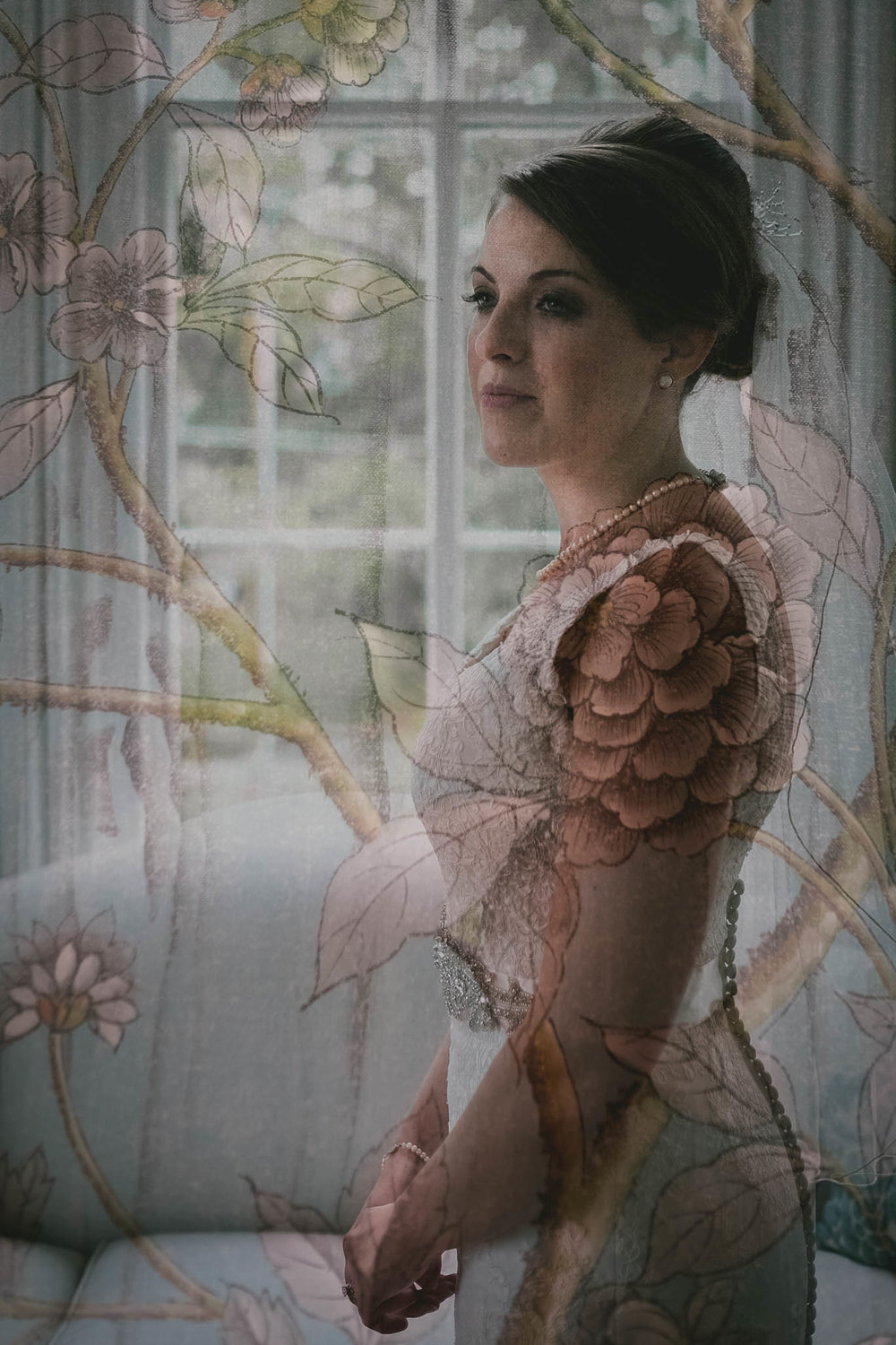 Double exposure of bride in bridal suite at Merrimon-Wynne House, Raleigh, NC