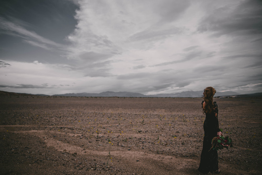 Bride looking out over the desert, Death Valley, CA