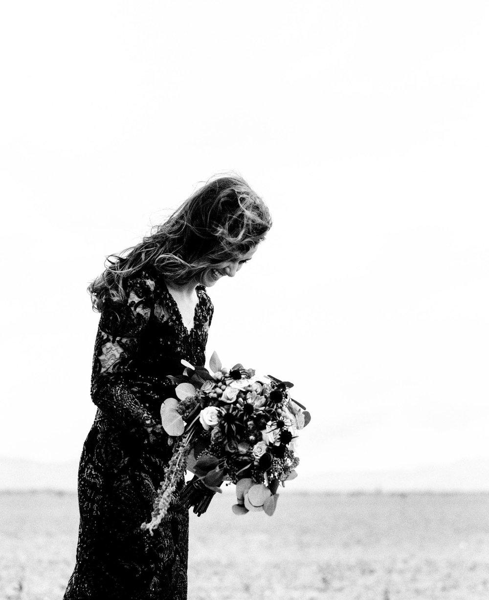 Bride in the Desert in Death Valley, CA