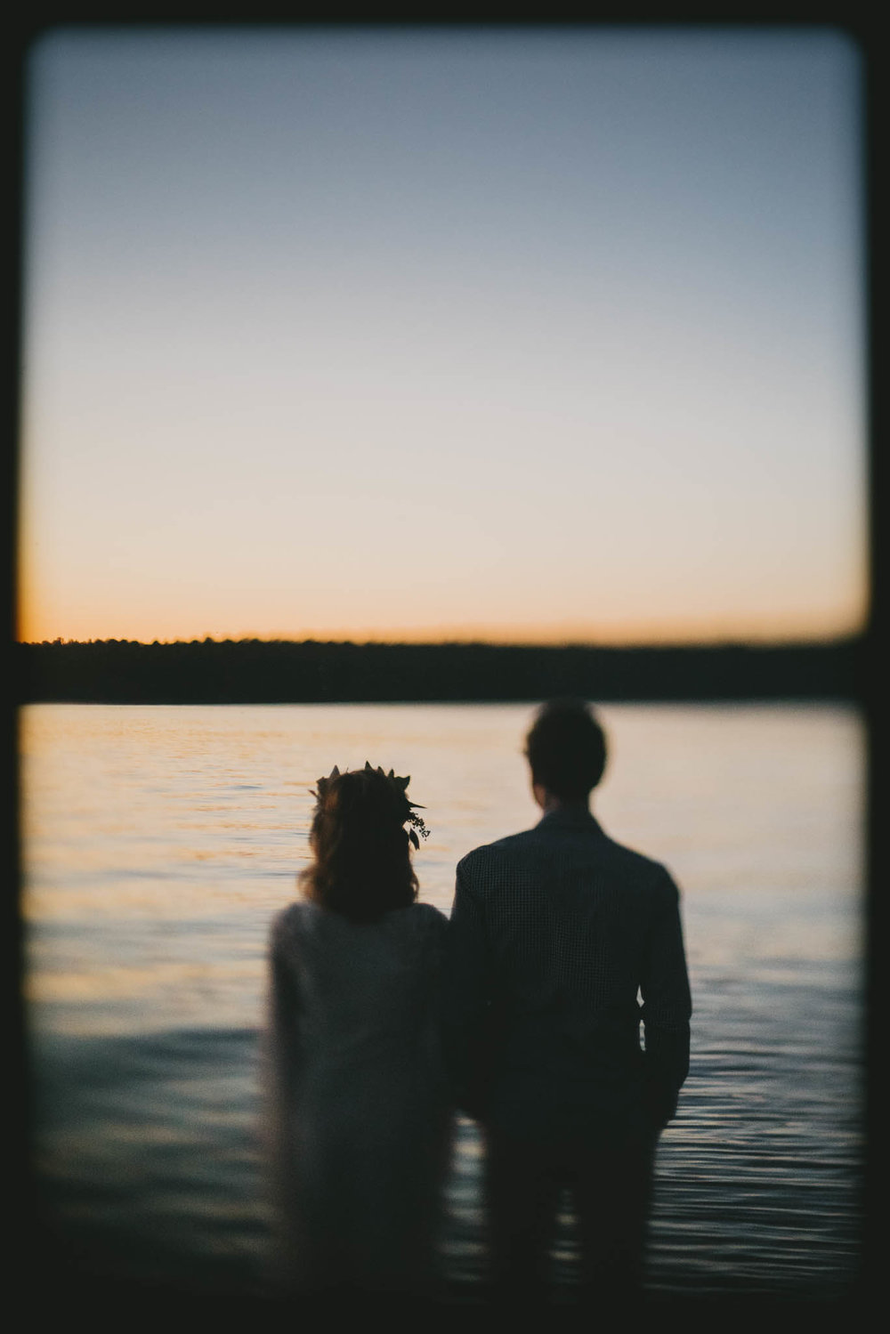 Bride and Groom during Sunset in Apex, NC