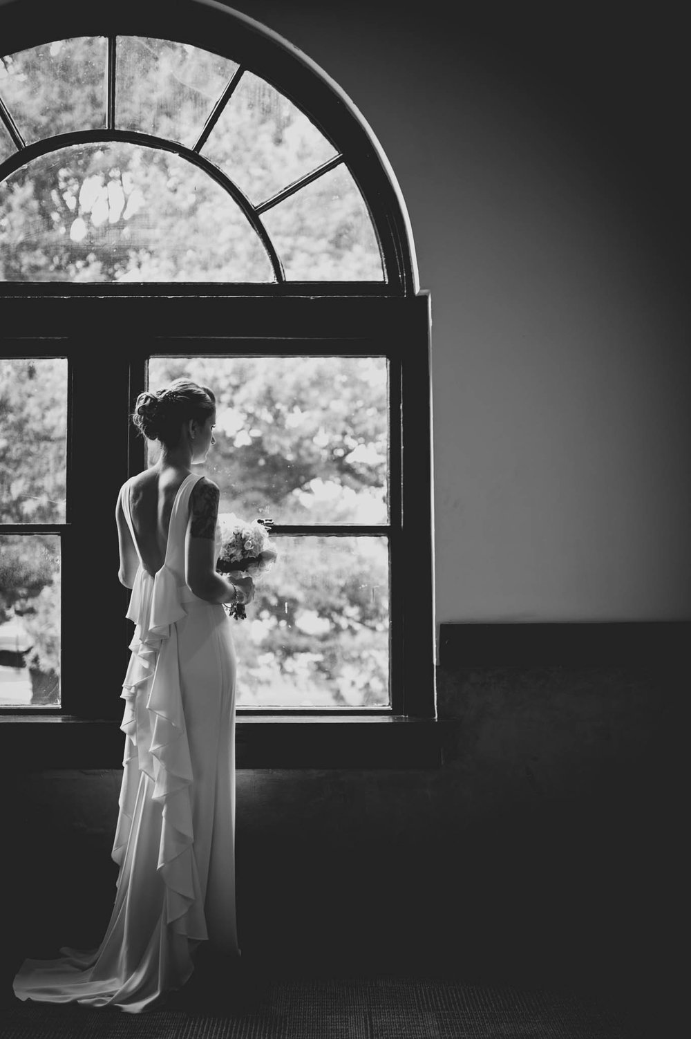 Bride in BHLDN dress before ceremony at 214 Martin, Raleigh, NC