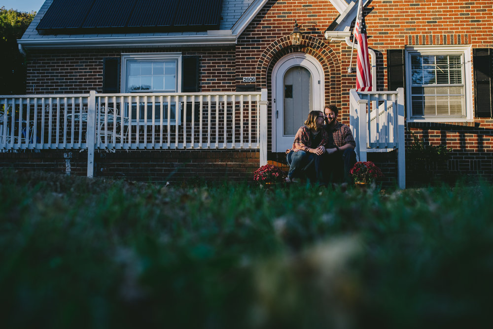 Kate and Patrick outside their beautiful home in Greensboro, North Carolina