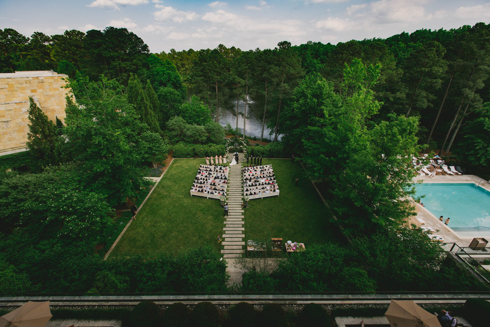 Elegant wedding at the Umstead Hotel and Spa as seen from above