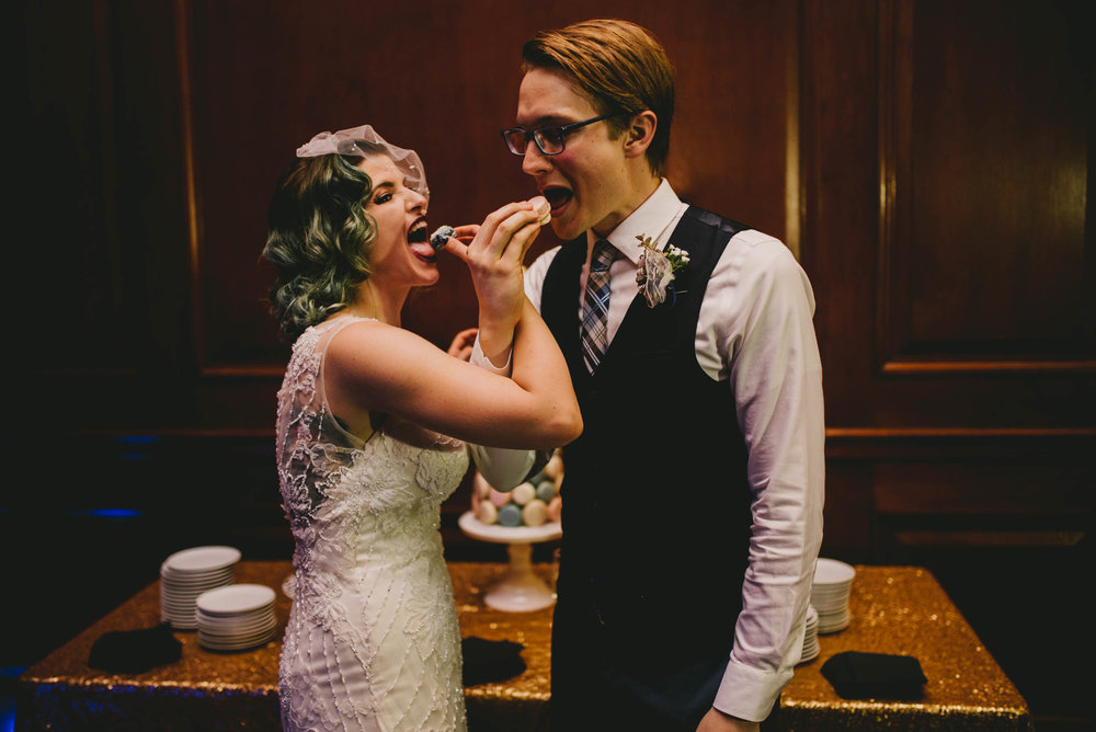 21c-hotel-durham-offbeat-wedding-macaron-cake-eating.jpg