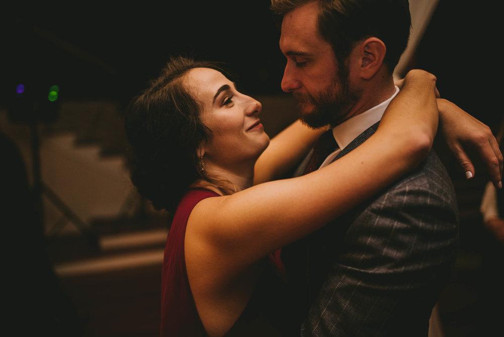 wedding guests dancing slowly