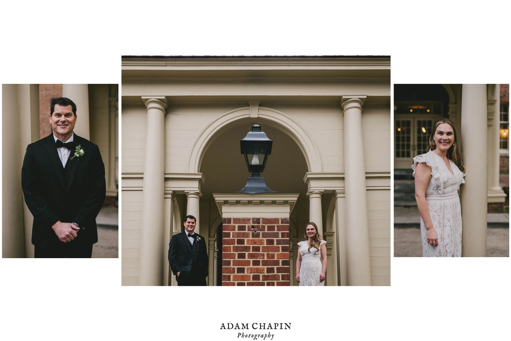 a three photo portrait of the bride and groom apart and one together