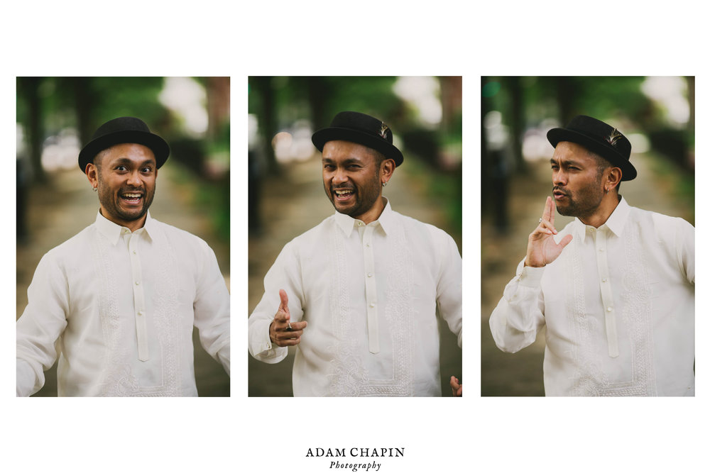 portraits of the groom being a goofball