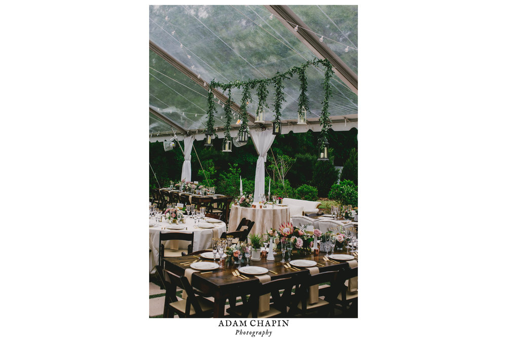 wedding reception dinner table details and tenting design