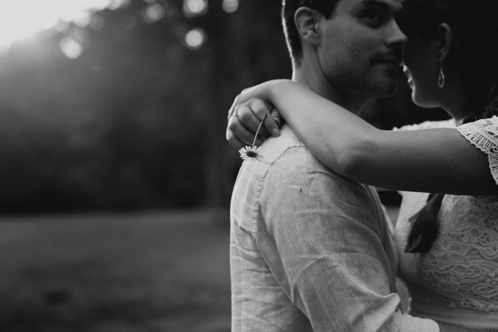 couple hugging at Eno River Park