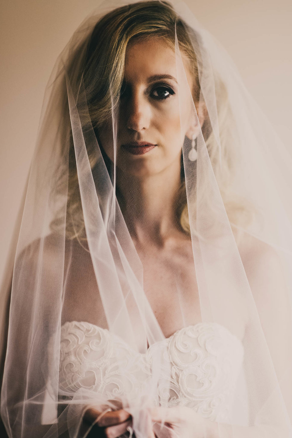 bride behind her veil before her wedding ceremony