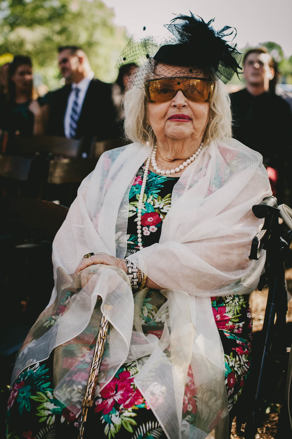 grandmother of the bride stylishly dressed before the wedding ceremony at the Mims House