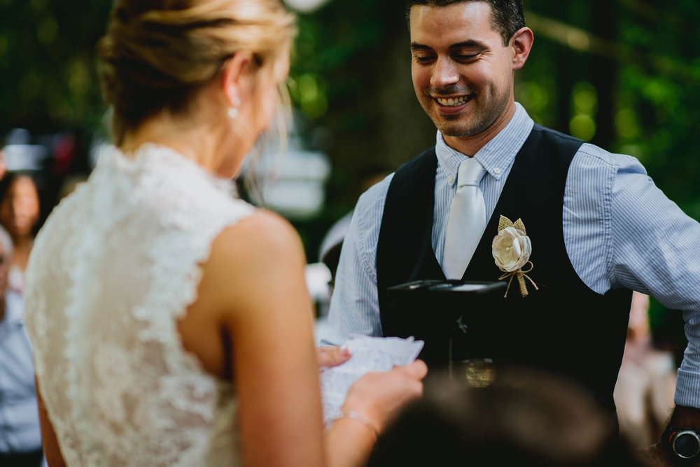 bride reading vows to groom during wedding ceremony