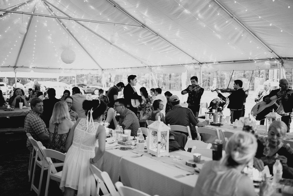 wedding guests enjoying the duke forest wedding reception