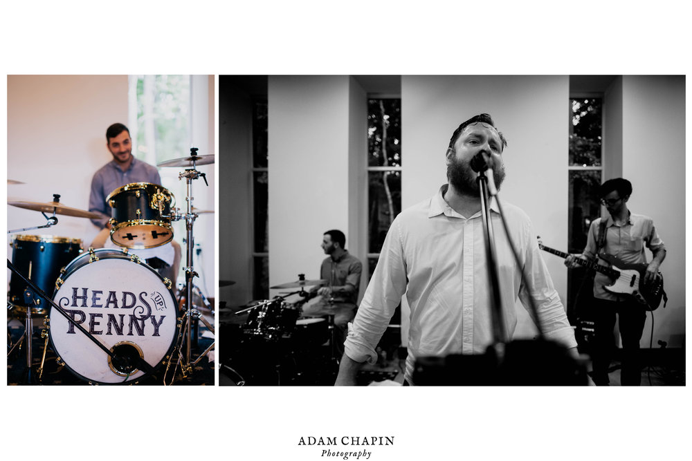dyptych of HEads UP Penny band playing the wedding reception
