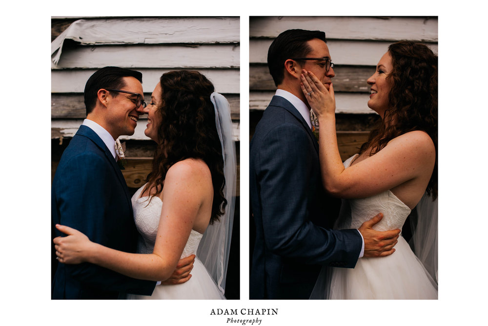 bride wiping away lipstick from grooms face after a kiss before their wedding