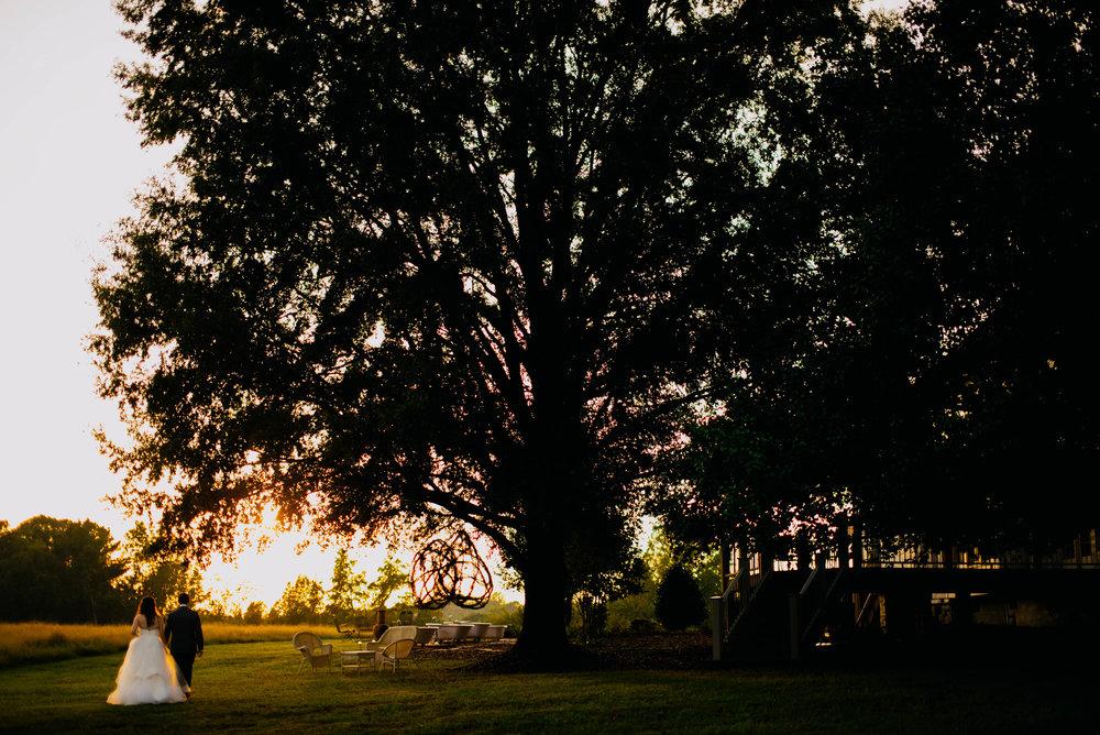bride and groom walking under a huge oak tree during sunset