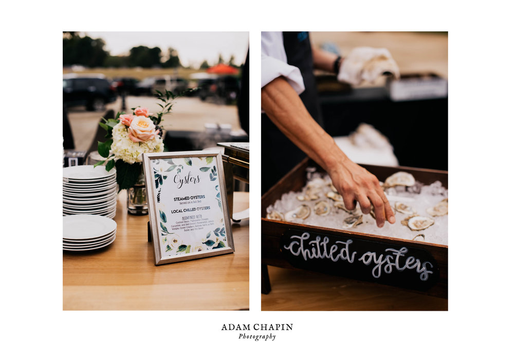 raw oyster bar setup at the wedding reception during this Meadows Raleigh wedding