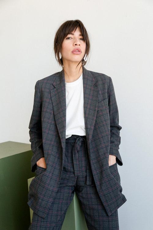 13d1d6393c Mijeong Park Oversized Plaid jacket - Charcoal ...