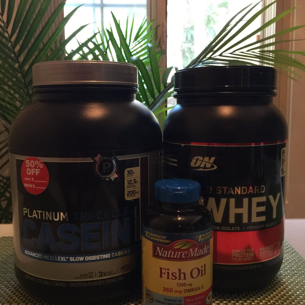 Protein Supplements are a good way to ensure that you hit your daily protein goals. I take Whey Isolate throughout the day and Casein post workout right before bed.
