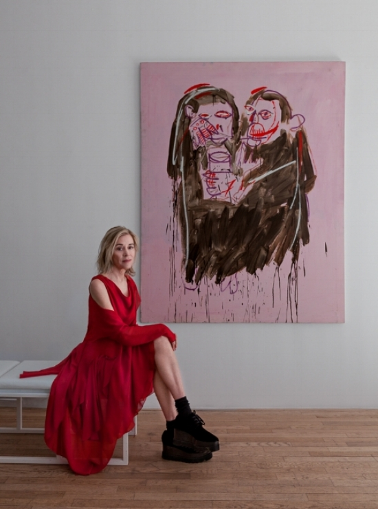 The contemporary photograph of Paige with Basquiat's Valentine, was taken by the photographer Matthew Placek and is ©Matthew Placek.