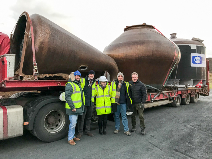 Jim McEwan (far right) with the Laing family in front of the new Ardnahoe pot stills